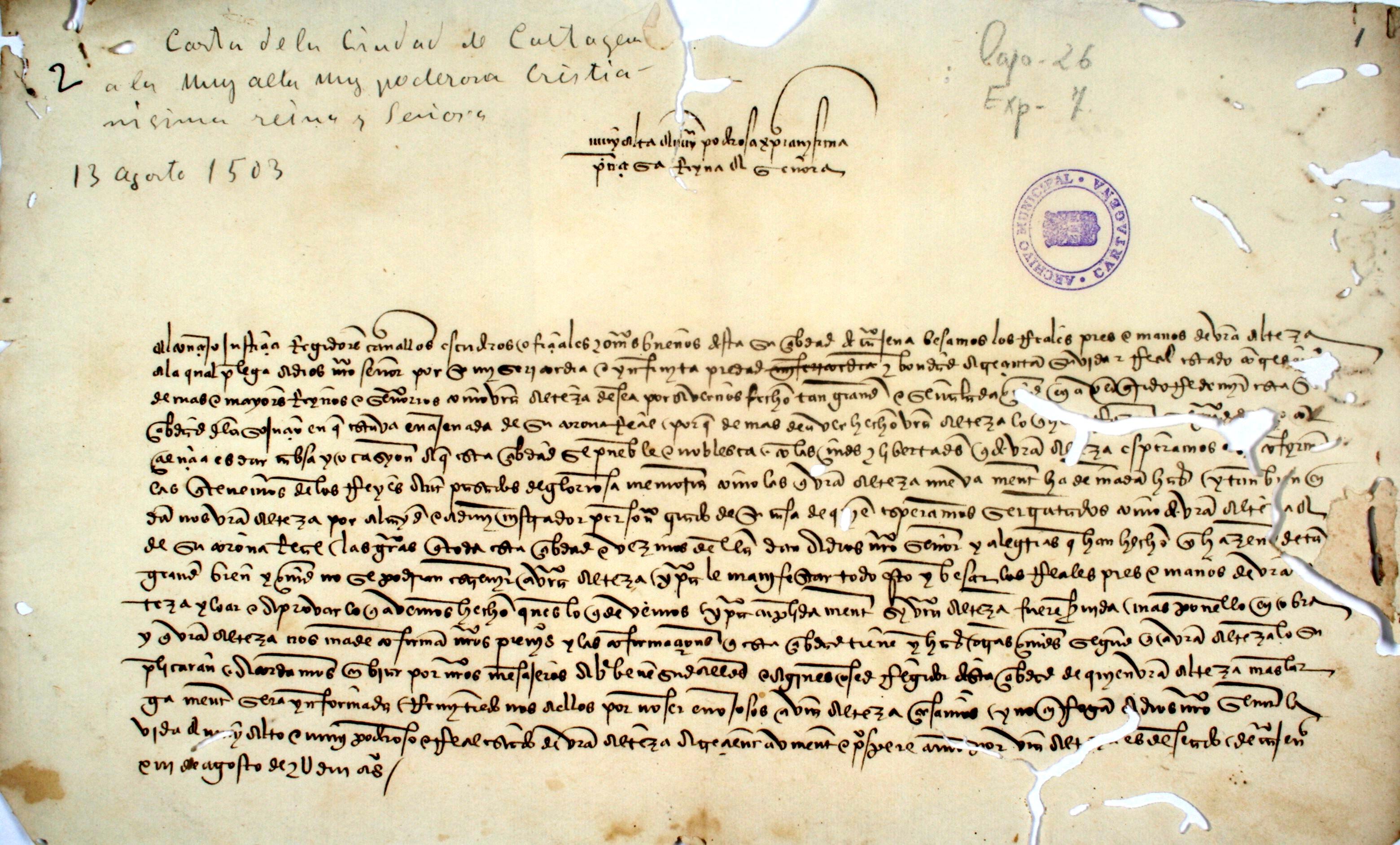 1503, agosto, 23. La ciudad de Cartagena a Isabel la Católica.
