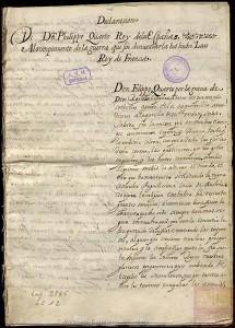 Copia de la declaración de guerra del rey Felipe IV a la Francia de Luis XIII. 1635.