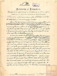 Declaración Independencia Estados Unidos por Thomas Jefferson. Facsímil
